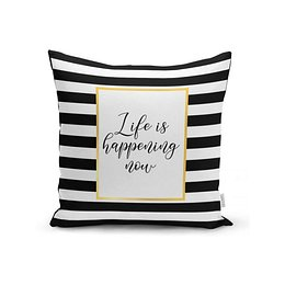 BW Stripes With Motto párnahuzat, 45 x 45 cm - Minimalist Cushion Covers