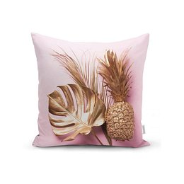 Golden Ananas and Leafes párnahuzat, 45 x 45 cm - Minimalist Cushion Covers