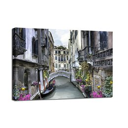 Canvas Watercolor Venice fali kép, 75 x 100 cm - Styler