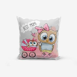 Best Mom Owl pamutkeverék párnahuzat, 45 x 45 cm - Minimalist Cushion Covers